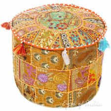"""22"""" Yellow Patchwork Pouf Cover Ottoman Footstool Handmade Pouf"""