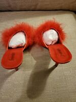 Fredricks of Hollywood Red Satin Marabou low Heel. Heel height 3 inches. Size 8m