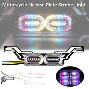 Motorcycle License Plate Mount LED Strobe Light Tail Brake Running Lamp+ Bracket