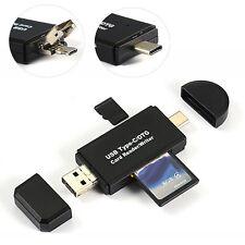 3 in 1 Micro Type-C USB OTG auf USB 2.0 Adapter SD / Micro SD Kartenleser NEU