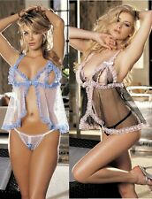 Fishnet and Lace Open Bust Babydoll Open Crotch G-string One Size 96965