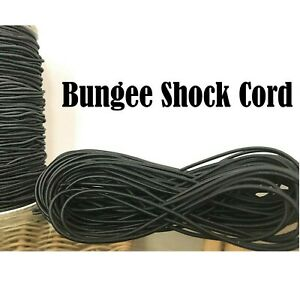 BLACK ELASTIC BUNGEE ROPE SHOCK CORD TIE DOWN ALL SIZES 3mm 5mm 6mm & 8mm