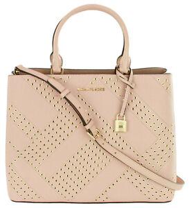 Michael Kors Adele Satchel Bag Pastel Pink Pebbled Leather Large Handbag