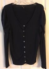 4df054054af3 MNG By Mango Black Button Front Ruched Long Slvs Scoop Neck Cardigan Sz L