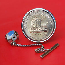 2004 Jefferson Nickel 5 Cent BU Unc Coin Silver Plated Tie Tack NEW - Keelboat
