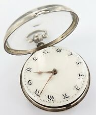 STUNNING 1808 SIGNED ENGLISH STERLING SILVER VERGE FUSEE POCKET WATCH, WORKING.