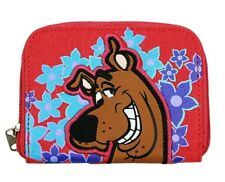 SCOOBY DOO Red Flowers ZIPPERED WALLET COIN PURSE ID Card Case Tote Keyring NEW!