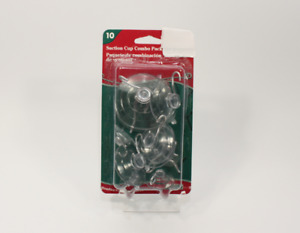Pack of 10 Suction Cup Combo Pack Assortment of Sizes Clear Plastic/Rubber