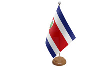 Costa Rica Small Table Flag with Wooden Stand