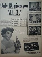 1947 Royal Crown RC Cola Soda Claudette Colbert with Bottle Original Ad