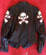 Women's XS Black Tribe America Skull And Crossbones Leather  Coat Made In USA!