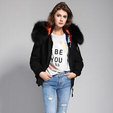 Women's Real Raccoon Fur Collar Real Rabbit Fur Lined Hooded Jacket Bomber Coat