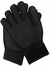 RJM Knitted Adults Magic Gloves with Palm Grip Black