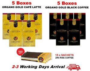 10 Box Organo Gold Ganoderma Coffee 5 Black + 5 Cafe Latte Free Express