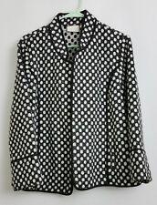 Chicos Jacket Coat Fleece Black White Polka Dot Womens Size 2 / L-12