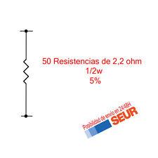50X Resistencias Pelicula metalica 2,2 Ohm 1/2W  5%