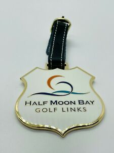 Half Moon Bay Golf Links San Francisco CA Gold Metal Bag Tag Mint Rare Leather