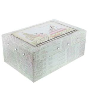 FMG Ladies -Girls Elegance Two Tiered Jewellery Box With Mirror On Inside Lid SC