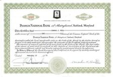 Peoples National Bank of Maryland > 1975 Suitland, Maryland stock certificate