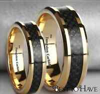 New Boxed His And Hers Tungsten Gold Tone Matching Wedding Engagement Ring Set