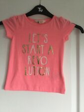 """GIRLS NEON CORAL SHORT SLEEVED T-SHIRT """"REVOLUTION"""" H&M AGE 2-4 YEARS EUR 98-104"""