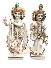 "36"" White Marble Radha Krishna Statue Hand Painted Divine Love Gifts Decor E1447"