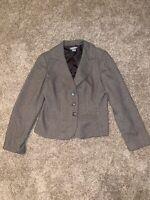 womens tan houndstooth ANN TAYLOR LOFT blazer suit jacket wool soft tweed Size 8