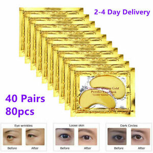 80PC/40Pairs Crystal Gold Collagen Under Eye Mask Patches Anti Wrinkles Eye Pads