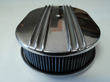 "12"" Oval Half Finned Polished Aluminum Washable Classic Nostalgia Air Cleaner"