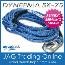 DYNEEMA 6M x 5mm H/DUTY BOAT TRAILER WINCH ROPE & SNAP HOOK - SK-75 UHMPE 3100kg