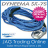 DYNEEMA SK-75 6M x 5mm H/DUTY BOAT TRAILER WINCH ROPE & SNAP HOOK - UHMPE 3100kg