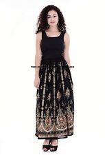 Ladies Indian Boho Hippie Long Sequin Skirt Rayon in black and gold inset color