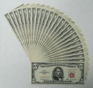 Lot of 25-  1963 - United States Notes/Legal Tender - $5 - Star Notes - VF-XF