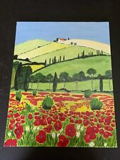 Outsider Art Oil Painting On Canvas House with Red Poppy Flowers Landscape