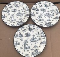 "Set (3) WOOD & SONS TOILLE DE JOILE Black White CHINA 10¾""  Dinner Plate Scallop"