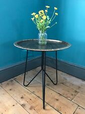 50cm high Metal Tray Table, Antique Gold colour