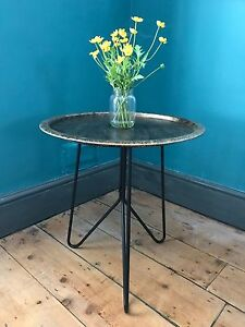 Antique Gold coloured Metal Tray Table 50cm high - LIMITED STOCK