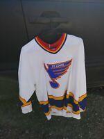 Vtg Hockey Jersey St Louis Blues White Colors Large Sr Size CCM Maska 1980s