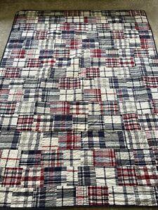 Pottery Barn Kids Madras Plaid Reversible Quilt & Sham Navy White Gray Red TWIN