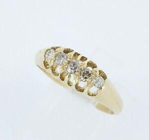 Beautiful Antique 18ct Yellow Gold & Diamond 5 Stone Engagement Ring UK L