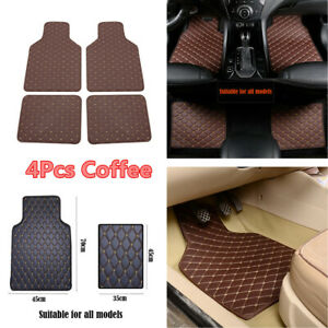 Universal 4Pcs Car Floor Mats PU Leather Protect Foot Carpets Coffee Accessories
