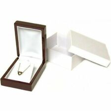Rosewood Stained Pendant Necklace Jewelry Gift Box Wood Display Kit 10 Pcs