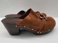 Juicy Couture Womens 8.5 M Closed Toe Heels Mules Brown metal belt