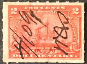 1898 2c Documentary Battleship Single, Scott #R164, Used, VF