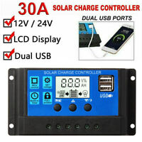 USB Solar Panel Regulator Charge Controller Auto Focus Tracking MTTP 30A 12V/24V
