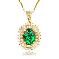 Real 14k Yellow Gold Oval Cut Vintage Natural Diamond & Emerald Pendant  Jewelry