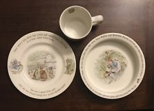 VINTAGE WEDGWOOD MRS. TIGGY WINKLE 3PC CHILD PORRIDGE SET - COMPLETE