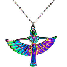"""C22188 Rainbow Color Egyptian Goddess Winged Stainless Steel Necklace 20"""" Chain"""
