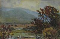 Expansive Landscape Mountains Beyond Watercolour Painting Ascribed HW Bates 1937