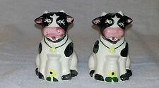 Whimsical Porcelain Cows With Milk Bottles Salt & Pepper Shakers